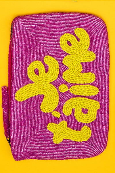 Je t'aime bead purse - purple & yellow