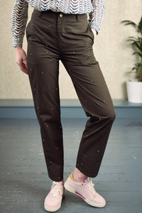 Sorty Green Rhinestone Trousers