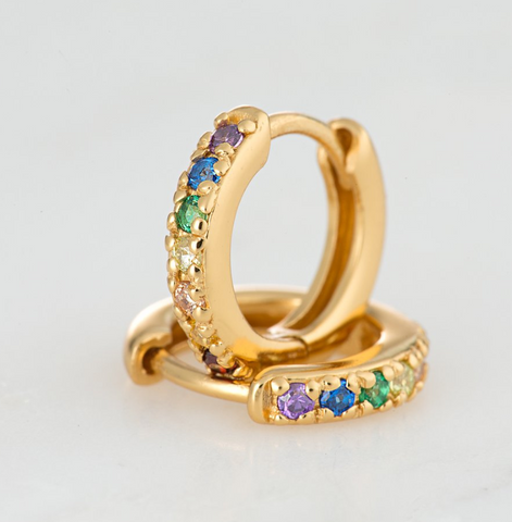 Gold Hoop Earrings with Rainbow Stones