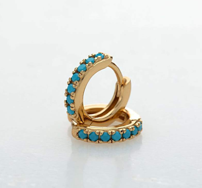 Gold Hoop Earrings with Turquoise