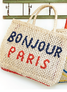 Bonjour Paris - Natural with navy and red