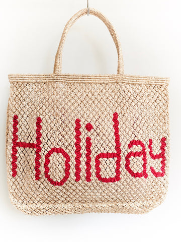 Holiday - natural with raspberry writing