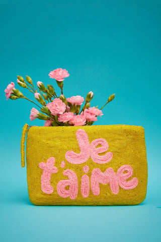 Je t'aime bead purse - yellow & pink