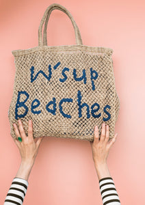 W'sup Beaches natural with cobalt writing