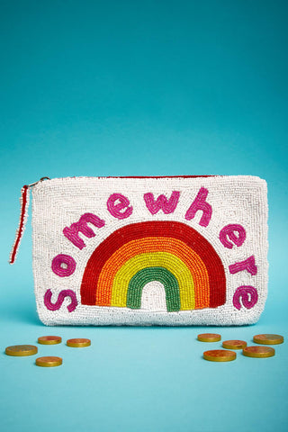 Somewhere bead purse - white & rainbow