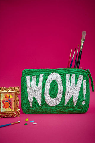 Wow bead purse - green