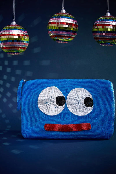 Eyes bead purse- blue