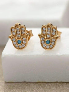 Gold fatima stud earrings with turquoise