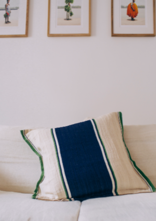 Pillow- Blue & Green Stripes