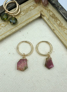 Rue Belle Semi Precious Pink Diamond Shaped Stone Earrings