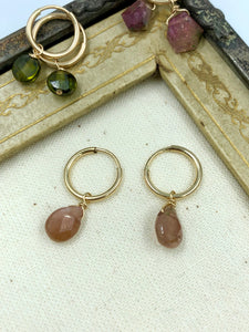 Rue Belle Semi Precious Pink Stone Drop Earrings