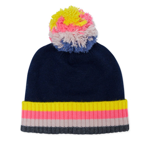 Rainbow Bobble Cashmere Hat