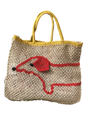 Sausage Dog Bag- Yellow Handle
