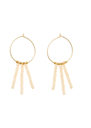 White and Gold 3 Drop Extra Small Hoop Earrings