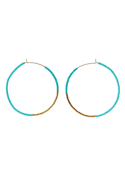 Turquoise & Gold Small Hoop Earrings