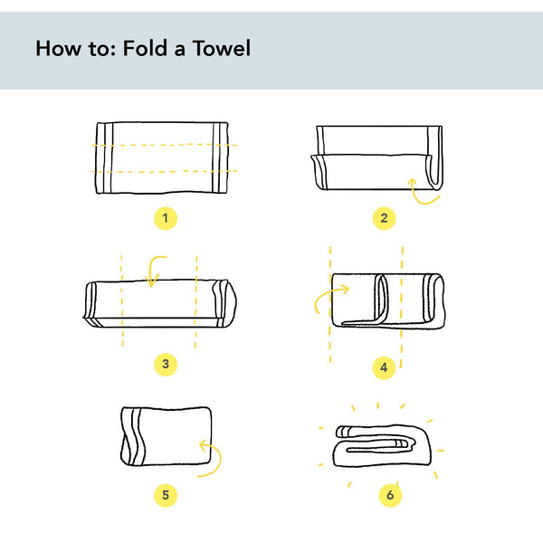 Illustrated guide showing how to fold a towel