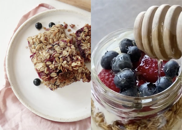foto of granola on the left and yogurt parfait on the right