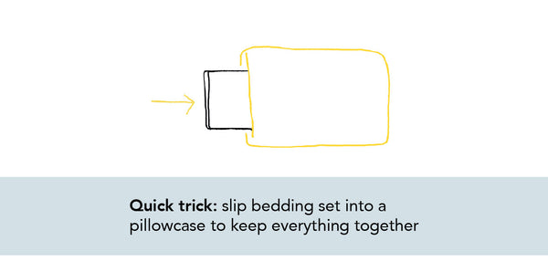 illustration of bedding being slipped inside a pillowcase
