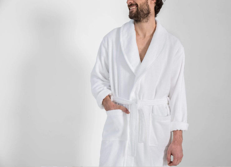 Man wearing an envello Classic Plush Cotton Bathrobe