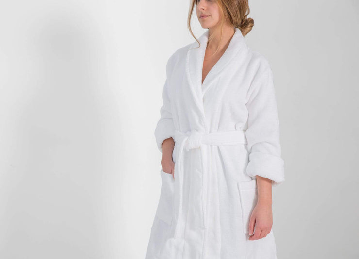 Woman wearing an envello Classic Plush Cotton Bathrobe