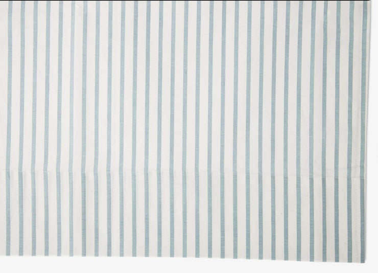 Close up of envello crisp Chambray blue striped sheet set