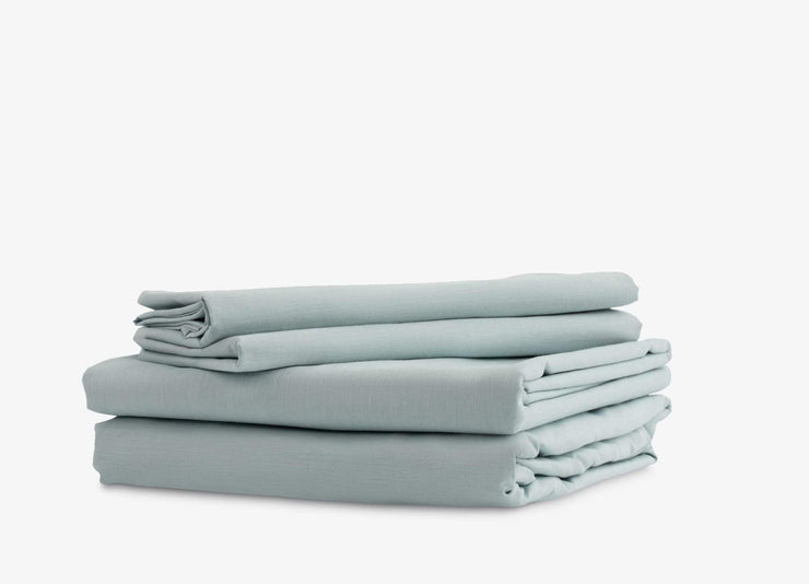 envello Crisp Chambray blue sheet set with 1 flat, 1 fitted and 2 pillowcases