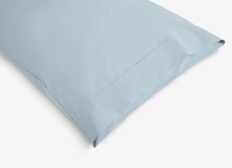 envello blue cotton Premium Percale pillowcase showing envelope enclosure