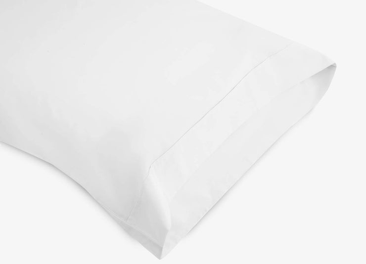 envello white cotton Premium Percale pillowcase showing envelope enclosure