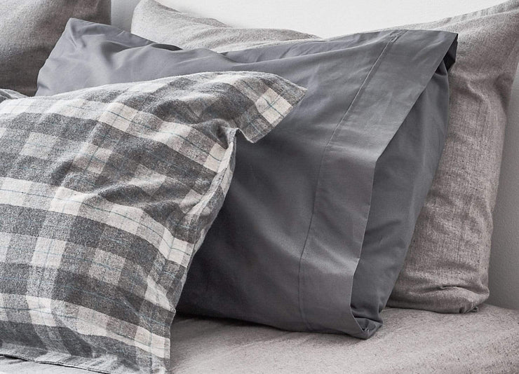 envello dark grey cotton Premium Percale pillowcase with contrasting Cozy Flannel duvet sham on bed