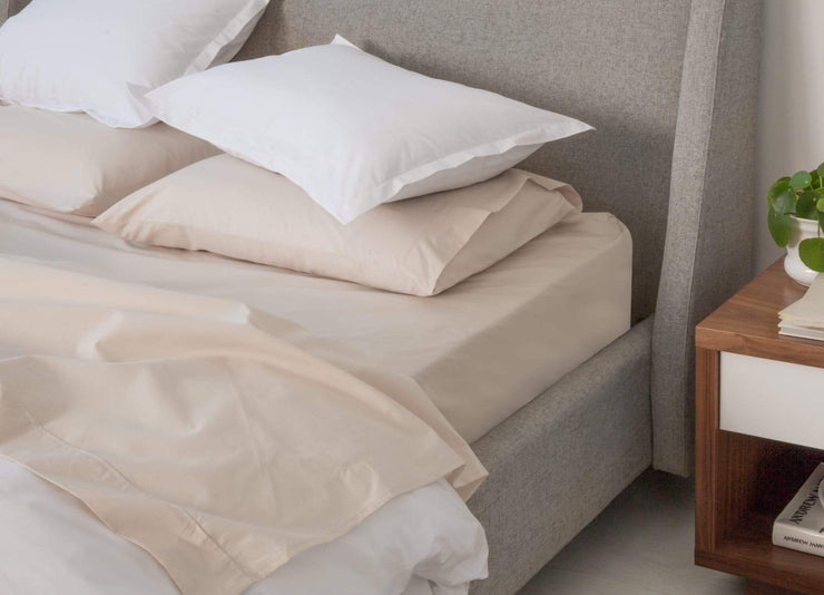 envello bone coloured cotton Premium Percale sheet set with white Premium Percale duvet shams
