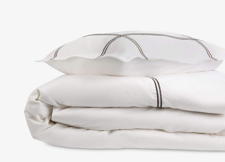 envello Select Sateen white cotton duvet set with grey accent trim