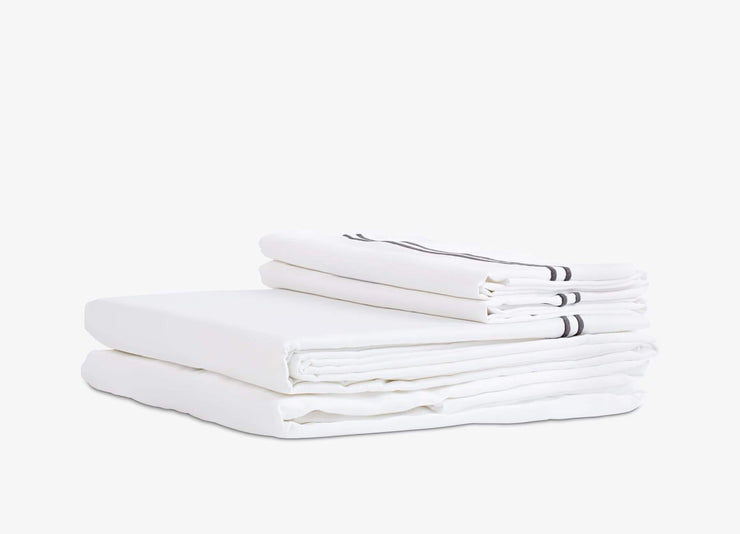 envello Select Sateen white cotton sheet set with contrasting dark grey trim featuring  1 flat and 1 fitted sheet plus 2 pillowcases