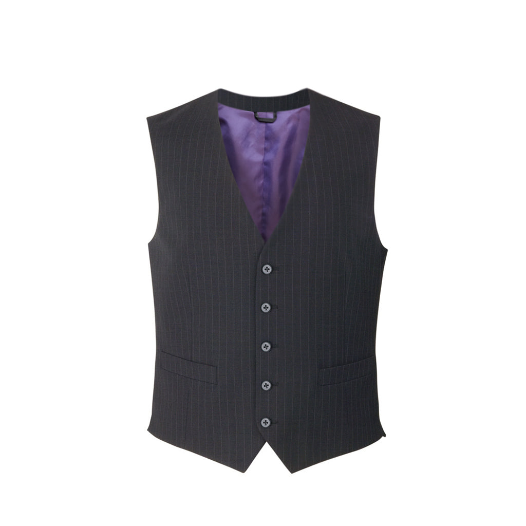 Busso Mens Waistcoat Charcoal Pinstripe