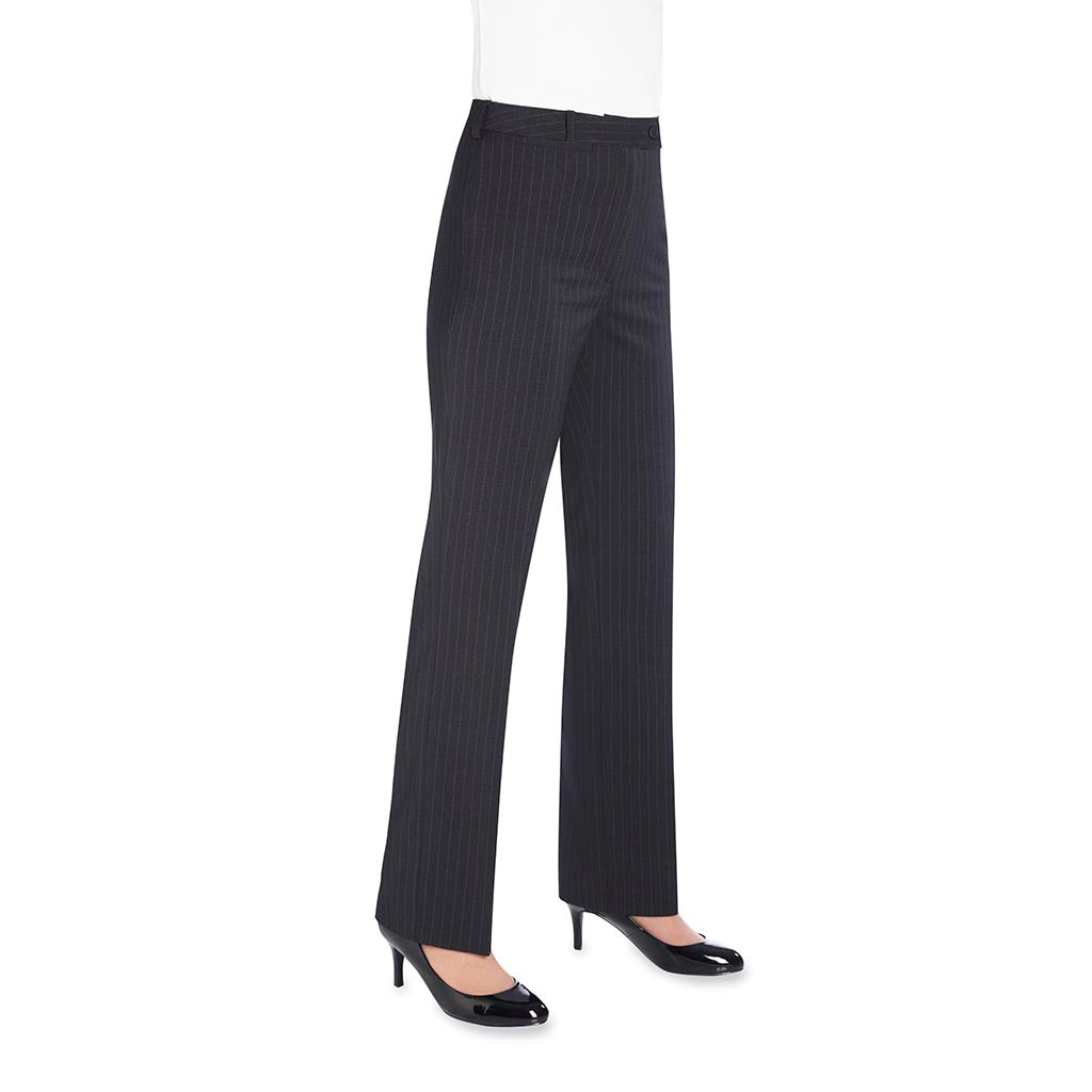 Varese Ladies Trousers Charcoal Pinstripe