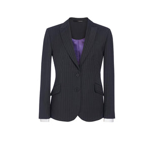 Novara Ladies Jacket Charcoal Pinstripe
