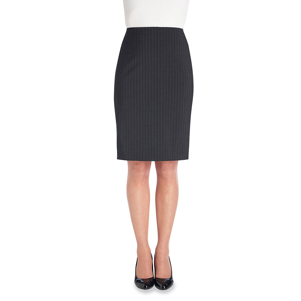 Numana Ladies Skirt Charcoal Pinstripe