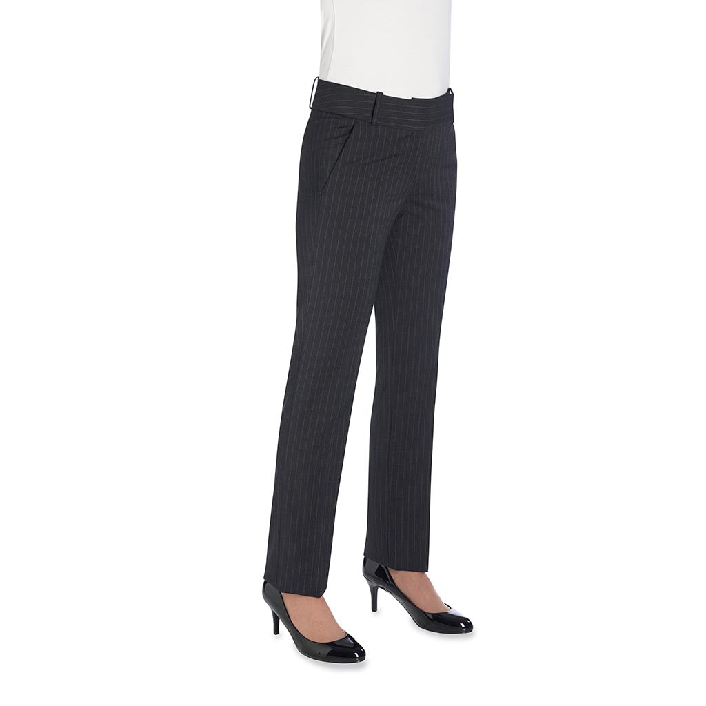 Genoa Ladies Trousers Charcoal Pinstripe