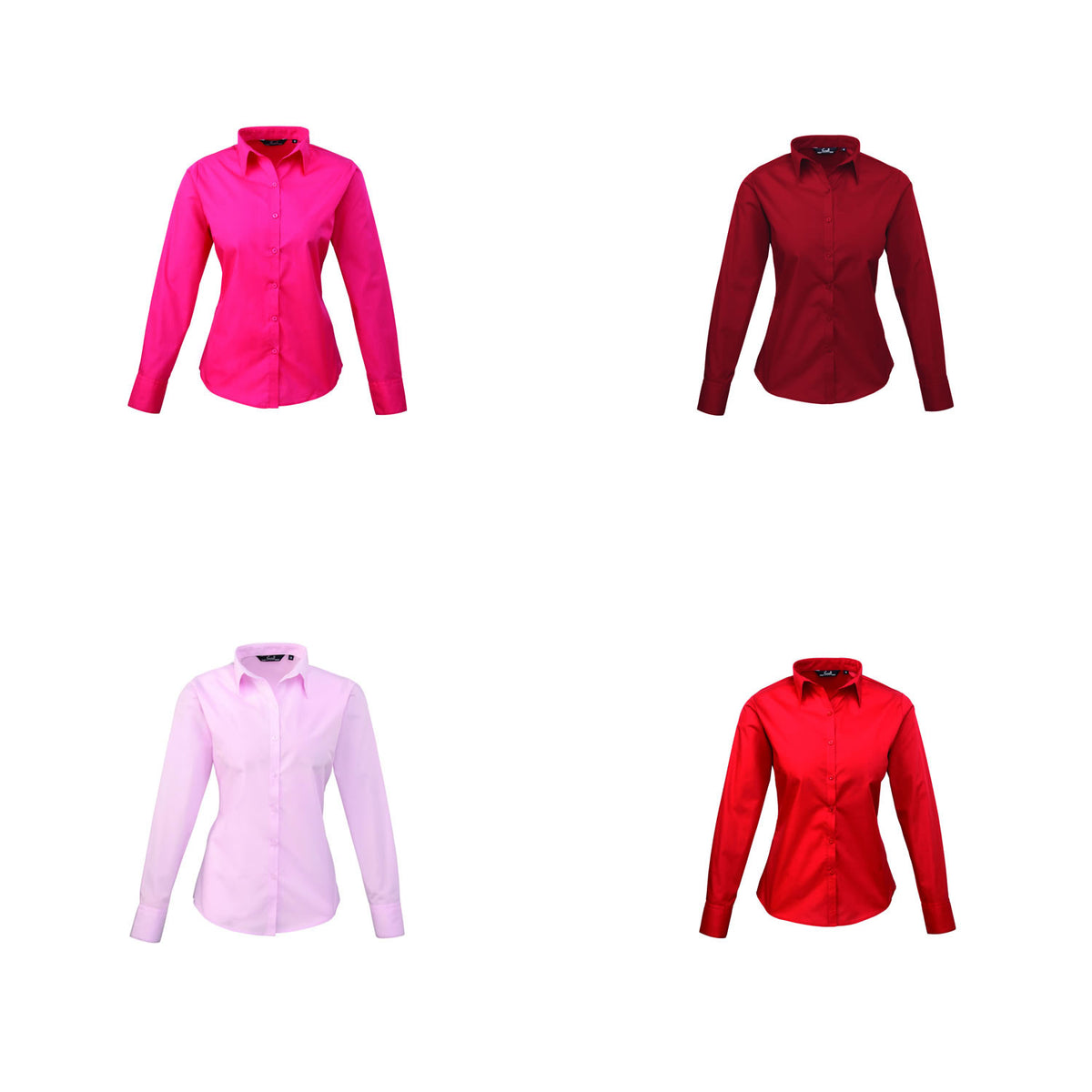 Premier Poplin Blouse (Hot Pink, Pink, Burgundy, Red, Strawberry)