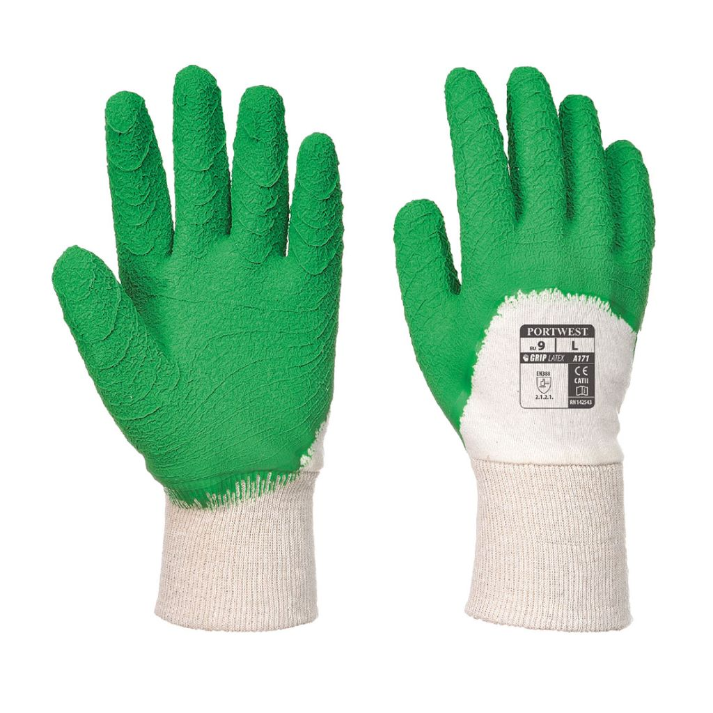 Open Back Latex Glove A171 WhiteGreen