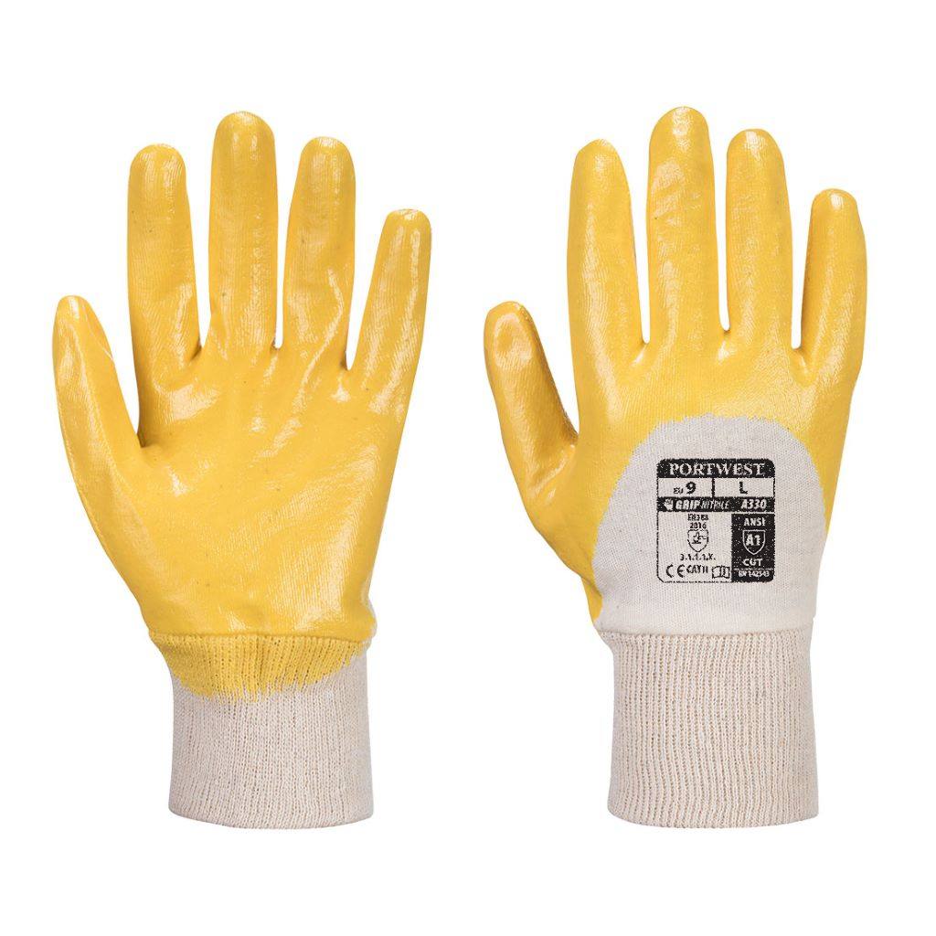 Nitrile Light Knitwrist Glove A330 Yellow