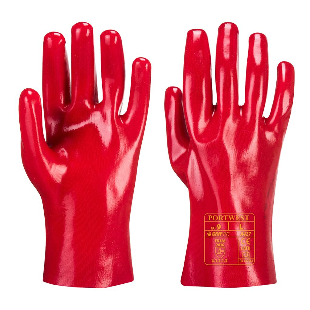PVC Gauntlet  27cm A427 Red