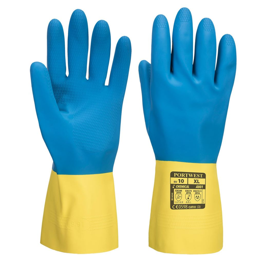 Double-Dipped Latex Gauntlet A801 YellowBlue