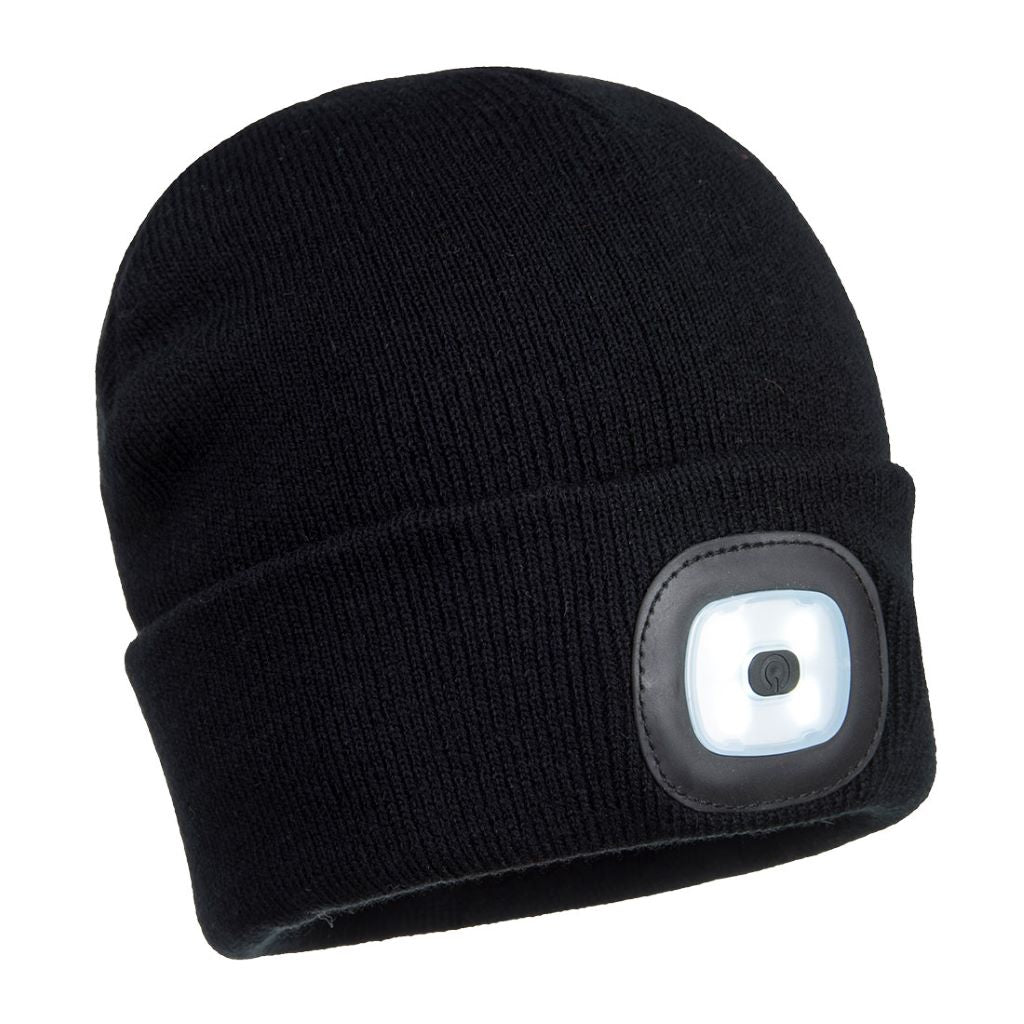 Rechargeable Twin LED Beanie B028 Black
