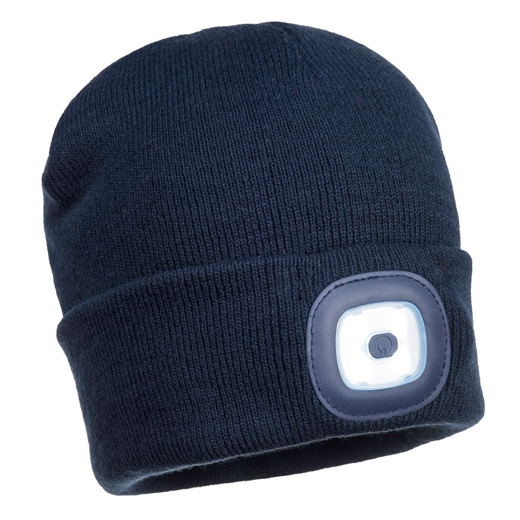 Rechargeable Twin LED Beanie B028 Navy