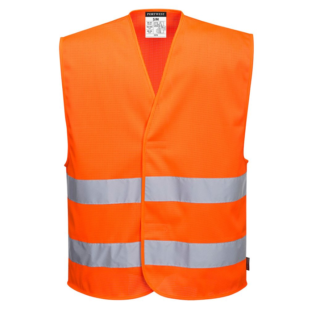 MeshAir Hi-Vis 2 Band Vest C374 Orange