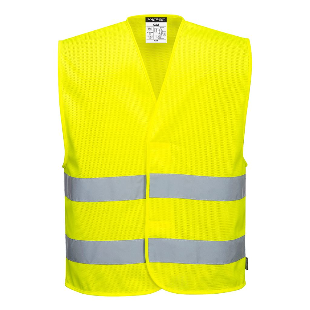 MeshAir Hi-Vis 2 Band Vest C374 Yellow