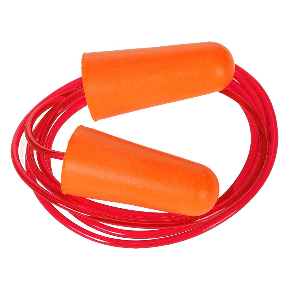 Corded PU Foam Ear Plug (200) EP08 Orange