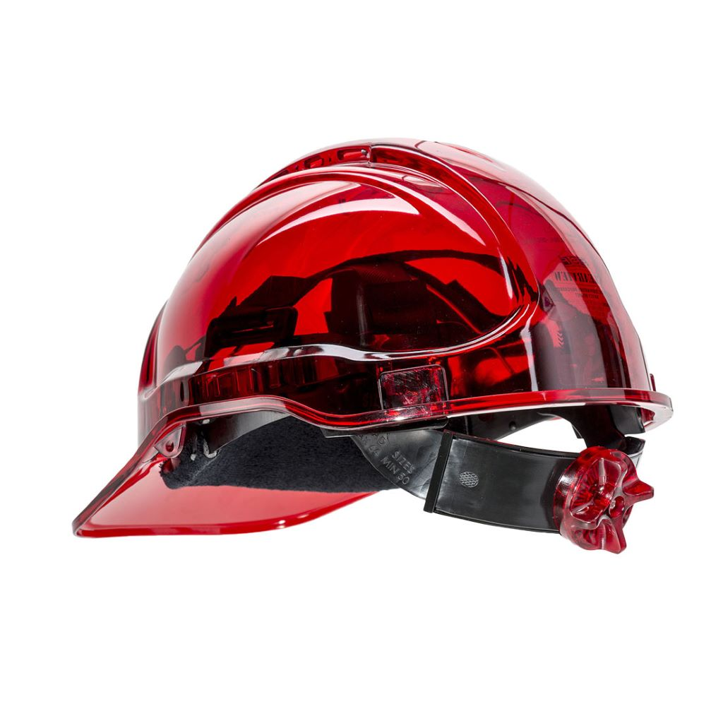 Peak View Ratchet Hard Hat PV64 Red