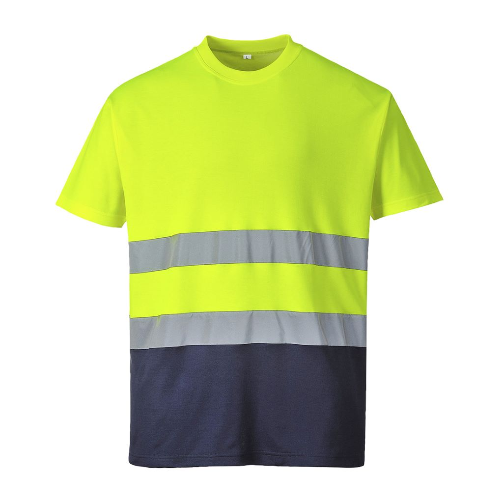 2-Tone Cotton Comfort T-Shirt S173 YellowNavy