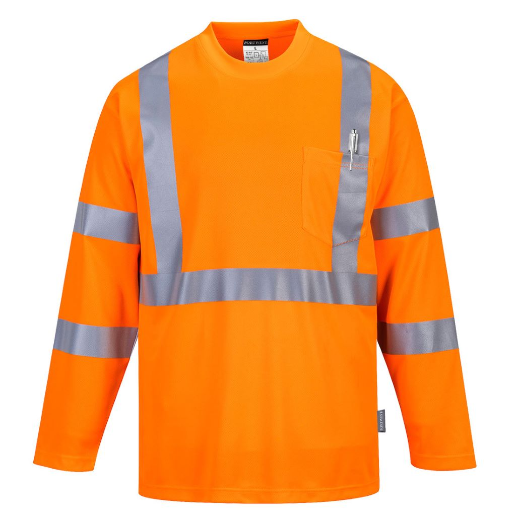 Hi-Vis Long Sleeved T-Shirt S191 Orange